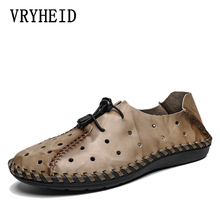 VRYHEID 2019 New Summer Men Genuine Leather Sandals Casual Shoes Outdoor Beach Roman Water Size 48