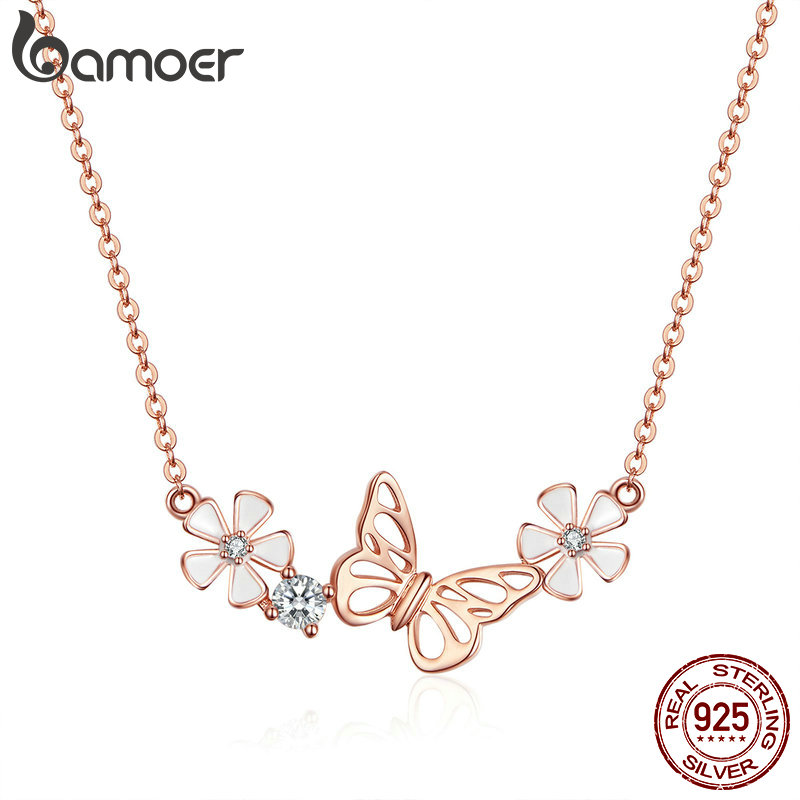 BAMOER Butterfly And Flower Necklace 925 Sterling Silver Enamel Floral Short Choker Necklace Silver Korean Jewelry BSN053