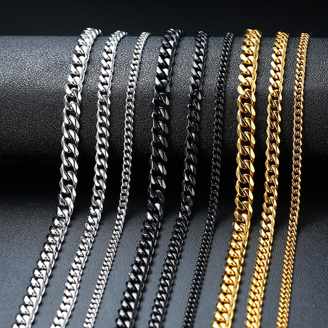 Vnox Basic Punk Stainless Steel Necklace for Men Women Curb Cuban Link Chain Chokers Vintage Black Gold Tone Solid Metal