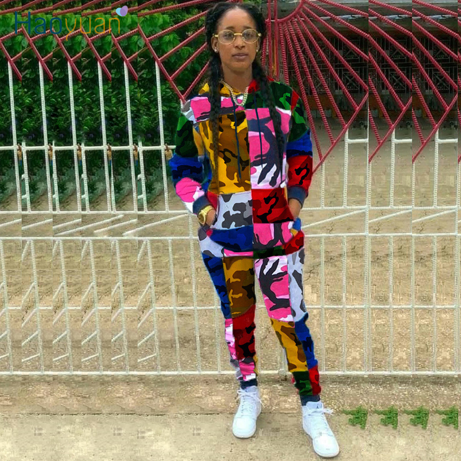 HAOYUAN Camouflage Two Piece Set Tracksuit Women Summer Clothes Hoodie Top And Pant Sweat Suit 2 Piece Outfits Matching Sets