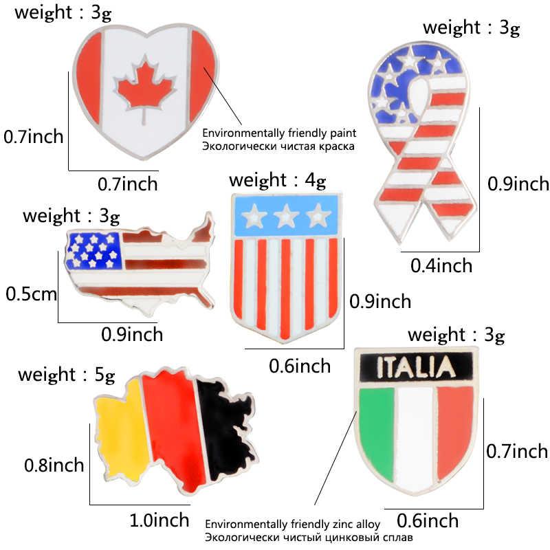 Germania Canada Italia In America Bandiera Nazionale Mappa Spilla Per Le Donne Degli Uomini Dello Smalto Spille Spille Distintivi e Simboli Risvolto Della Camicia del Risvolto Spilli Accessorio