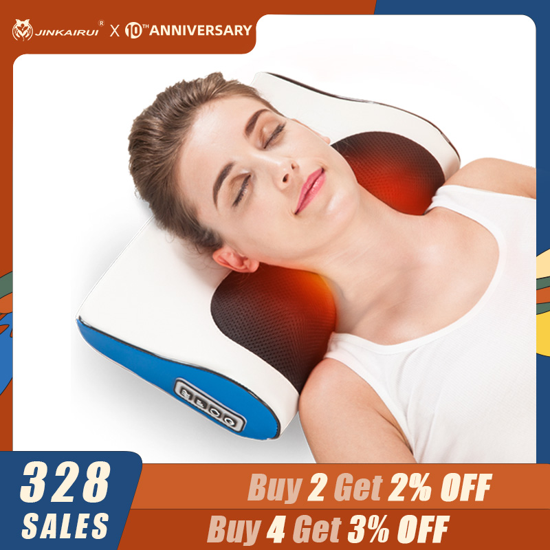 Jinkairui Massage Pillow Shiatsu Heating Shoulder Back Body Multi Function Device Cervical Healthy For Home And Car