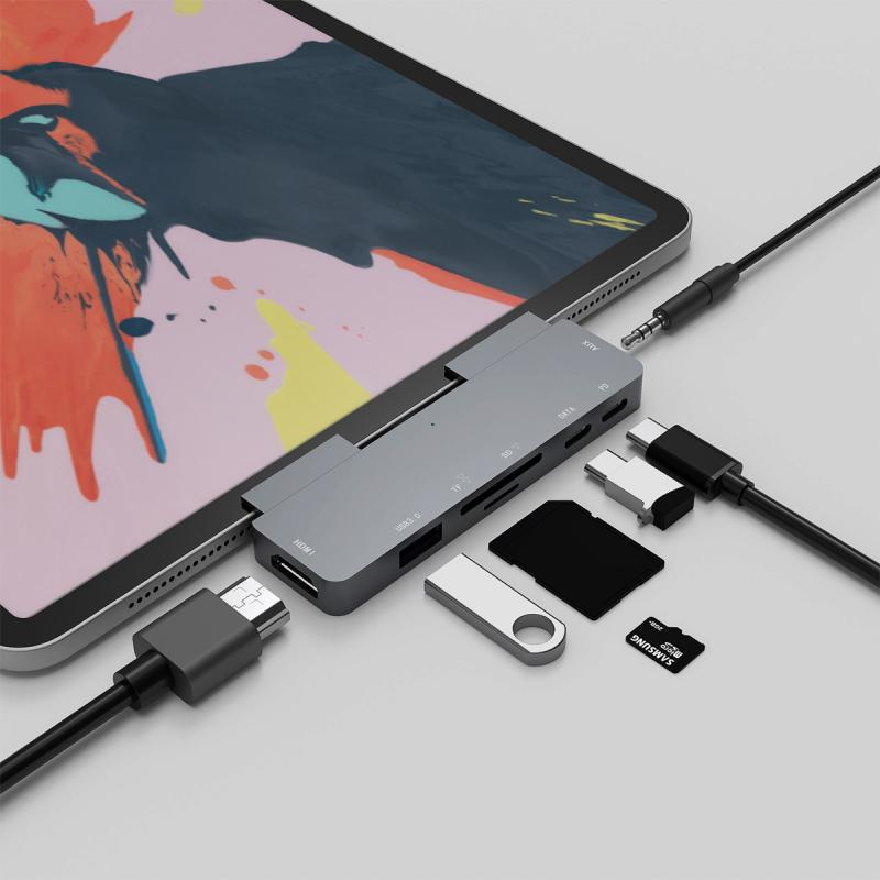 7 N 1 USB3.1 Multi-Function Dock Type-C To  HUB Hub For Ipad Pro Type C Adapter with 4K  USB-C PD TF SD