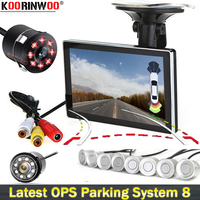 Koorinwoo HD Video System Car Parking Sensor Alert Car Rearview Camera Show Distance on Monitor Colorful Dynamic Trajectory Line