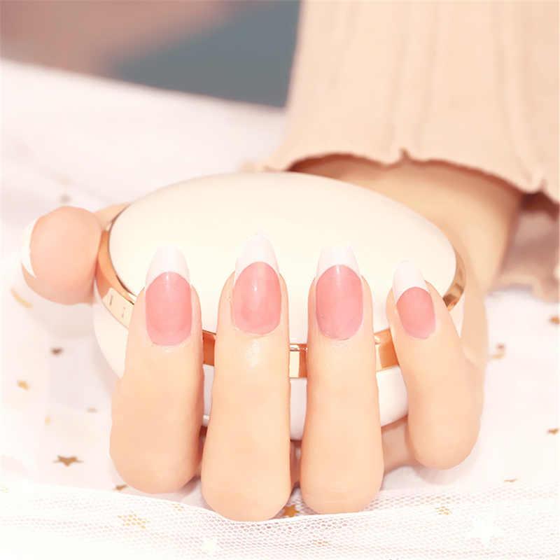Nusx pembe çıplak yanlış çivi beyaz kısa takma tırnak parlak saten bayan tırnak yapıştırıcı olmadan inci parlaklık fransız tırnak