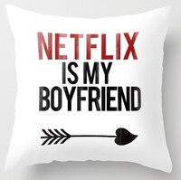 Heißer Verkauf Netflix ist mein Freund Weiß Platz Werfen Kissenbezug Reißverschluss Kissen Sham Einzigartige Kissen Abdeckung