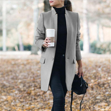 Fashion Autumn Long Coat Women Turn Down Collar Solid Red Ga
