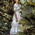 Alta qualidade runway designer vestido feminino 2020 verão vintage babados laço branco a linha magro maxi vestido