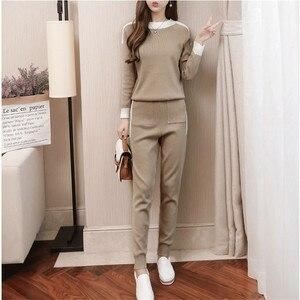 Image 2 - CBAFU סתיו חורף נשים אימונית ארוך שרוול סוודר מכנסיים חליפת סרוג מכנסיים חליפת סריגה נשים של סט אלסטי מותניים P397