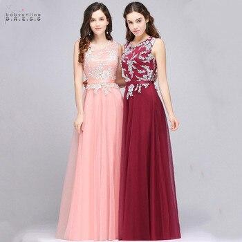 24 Hours Shipping Burgundy Lace Long Evening Dress Elegant A-line Chiffon Pink Evening Gowns Sleeveless Robe de Soiree Longue