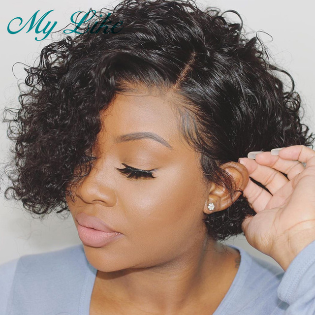 Hot Deal Ad10 Pixie Cut Wigs Short Human Hair Wigs Pre Plucked Remy Kinky Curly Lace Front Human Hair Wigs For Black Women Short Bob Lace Wigs Cicig Co