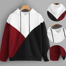 2019 New Winter Fashion Women Long Sleeve Patchwork Drawstring Hoodie Sweatshirt Hooded Pullover Tops Blouse