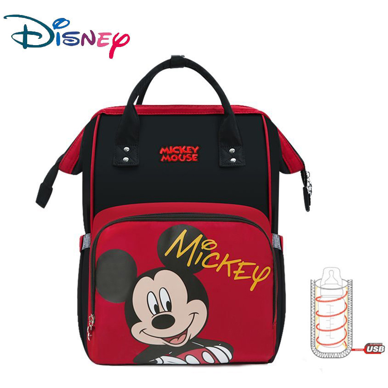 Disney Mickey Red Mummy Bags USB Diaper Bags Large Capacity Baby Care Bag Diaper Backpack For Mom Nappy Bag Large Capacity New
