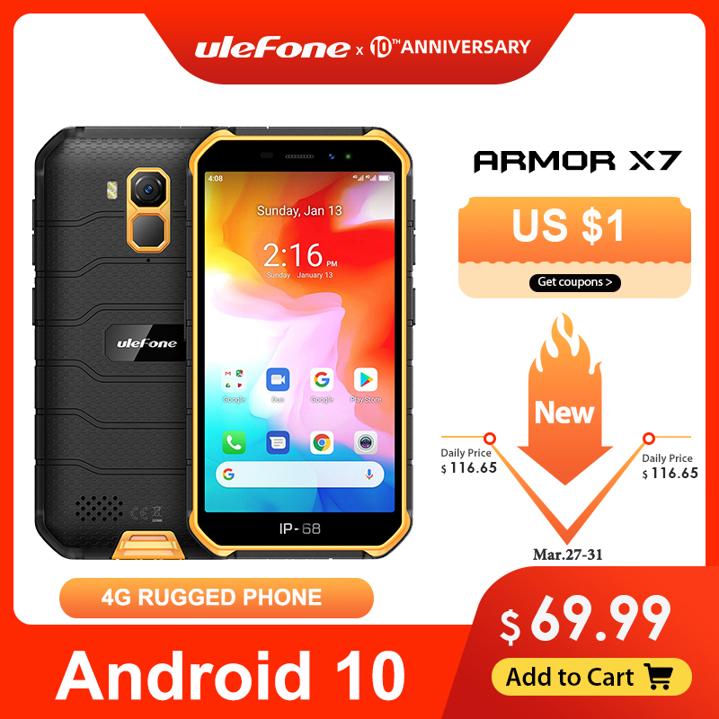 Ulefone שריון X7 5.0-אינץ Android10 מחוספס עמיד למים Smartphone טלפון סלולרי 2GB 16GB ip68 Quad-core NFC 4G LTE טלפון נייד title=