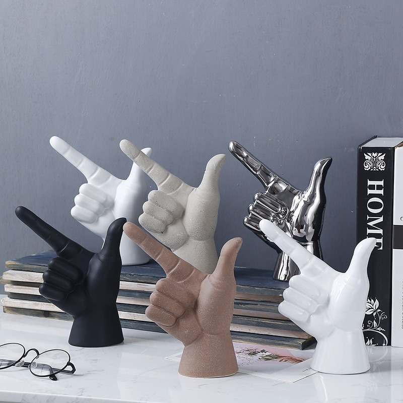 Nordic Fashion Creative INS Gesture Finger Model Furnishings Ceramic Home Crafts Ornaments