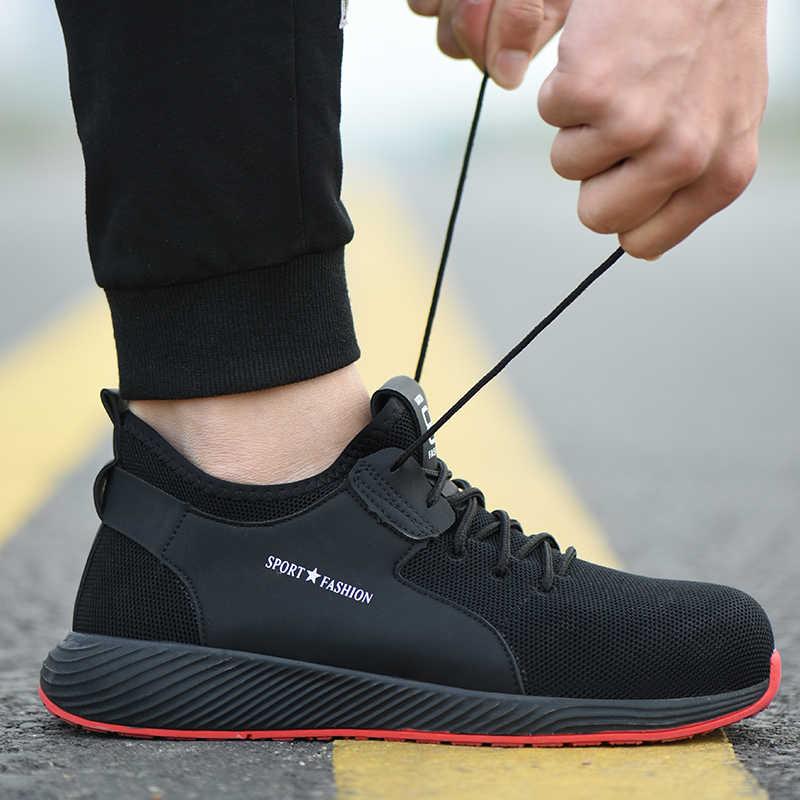 ROXDIA marka artı boyutu 36-46 çelik toecap erkek kadın çalışma ve güvenlik botları moda hafif spor ayakkabı rahat erkek ayakkabı RXM124