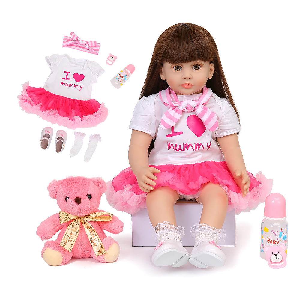 60CM Realistic Reborn Baby Dolls Princess Girl Baby Doll Long Hair Silicone Soft Reborn Toddler Birthday Xmas Gifts Toys For Kid