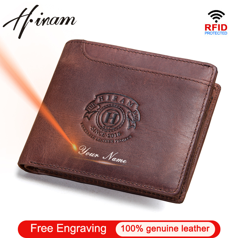 Hiram 100% Crazy Horse Leather Wallet Men Short Money Bag Vintage Coin Purse Small Card Holder Wallets Leather Male Portfolio