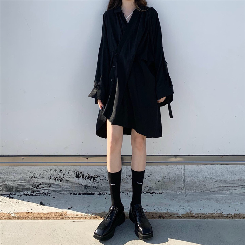 Fall 2019 New Korean Ins Black Loose Long Sleeve Mid-long Irregular Shirt Dresses For Female Students