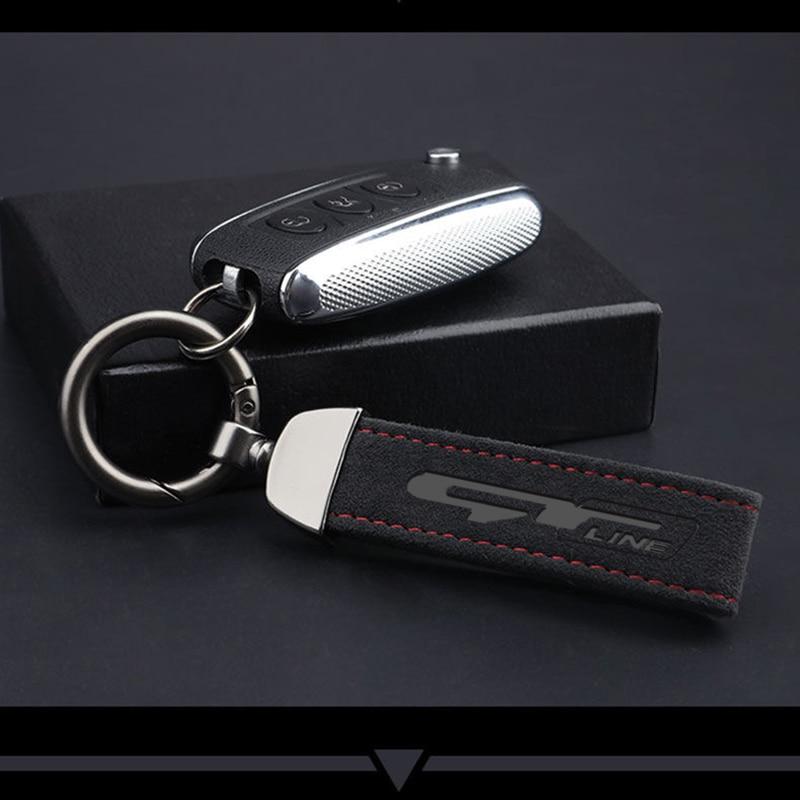 Для GT линия kia renault peugeot 308 Модные металлические кожаные автомобильный брелок 4s магазин бизнес подарок пользовательские авто аксессуары для ключей|Кольца для ключей|   | АлиЭкспресс