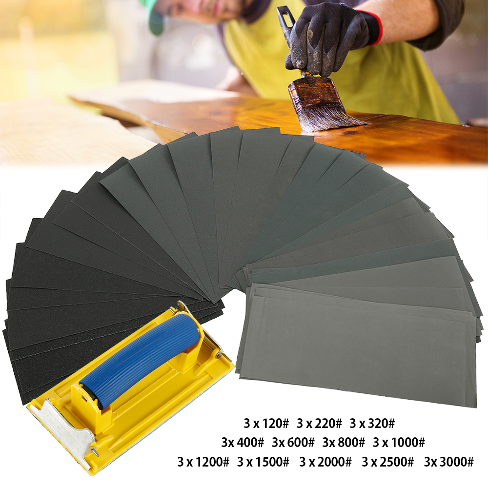 36pcs120 To 3000 Grits Sandpaper Assortment Sets For Automotive Sanding Wood Furniture Finishing Polisher Metal Sandpaper Holder