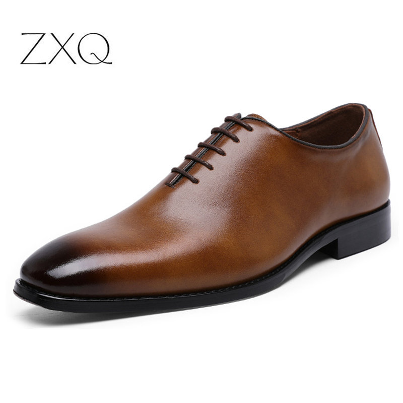 2019 Newest Men Dress Shoes Designer Business Office Lace-Up Dress Shoes Men Retro Genuine Leather Oxford Shoes For Men Big Size