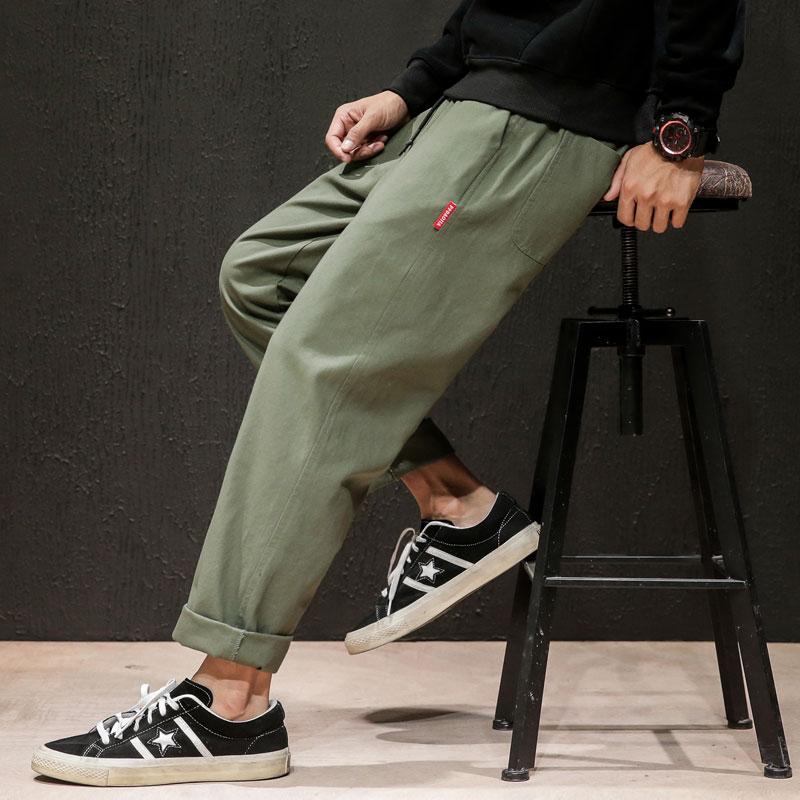 Dropshipping Male Sweatpants Joggers Autumn Japanese Mens Linen Losse Sweatpants Men Solid Harajuku Streetwear Harem Pants