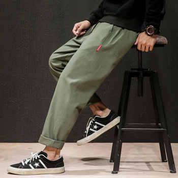 Dropshipping, pantalones de chándal para hombre, pantalones de chándal para hombre japoneses de Otoño de lino, pantalones de chándal para hombre Harajuku liso, pantalones de Harem