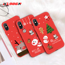 цена на N1986N For iPhone X XR XS Max 6 6s 7 8 Plus Phone Case Cute Cartoon Elk Santa Claus Christmas Tree Soft TPU For iPhone XR Gift