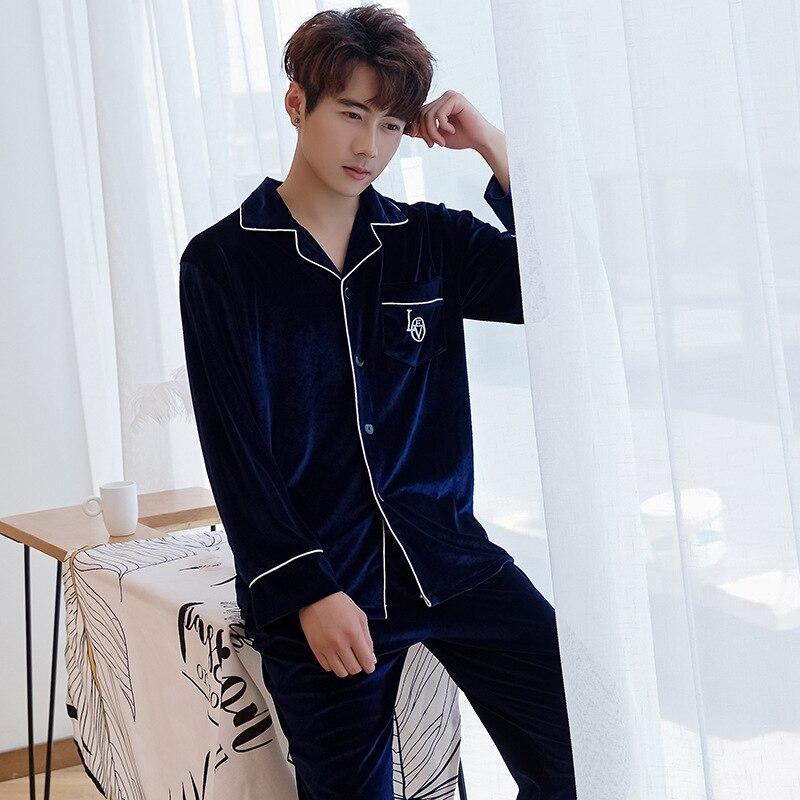 Men Velvet Comfortable Pyjamas Suit Nightwear Lingerie Warm Pajamas Set Homewear Casual Soft Full 2PCS Sleepwear Home Clothing