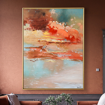 100% Hand Painted Abstract Sunset Art Oil Painting On Canvas Wall Art Frameless Picture Decoration For Live Room Home Decor Gift