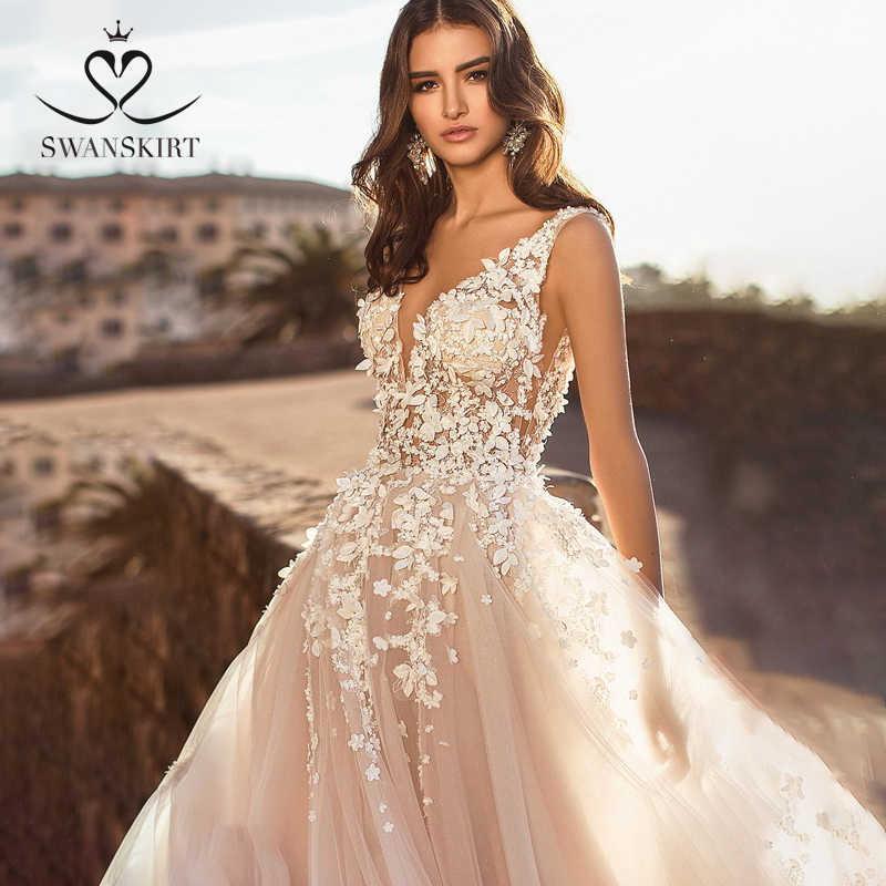 BoHo 3D Bunga A-line Pernikahan Gaun N128 Swanskirt Bordiran Renda A-line Backless Pengantin Gaun Disesuaikan Vestido De Noiva