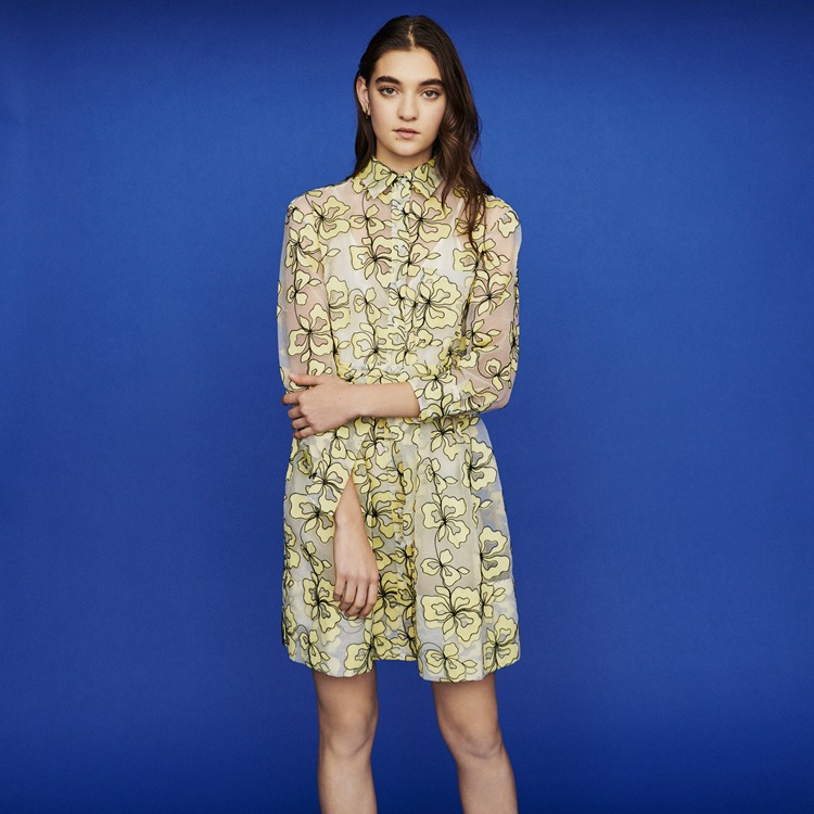 여성 드레스 2019 봄과 여름 식물 꽃 인쇄 원근법 메쉬 2 1 레이스 드레스-에서드레스부터 여성 의류 의  그룹 1