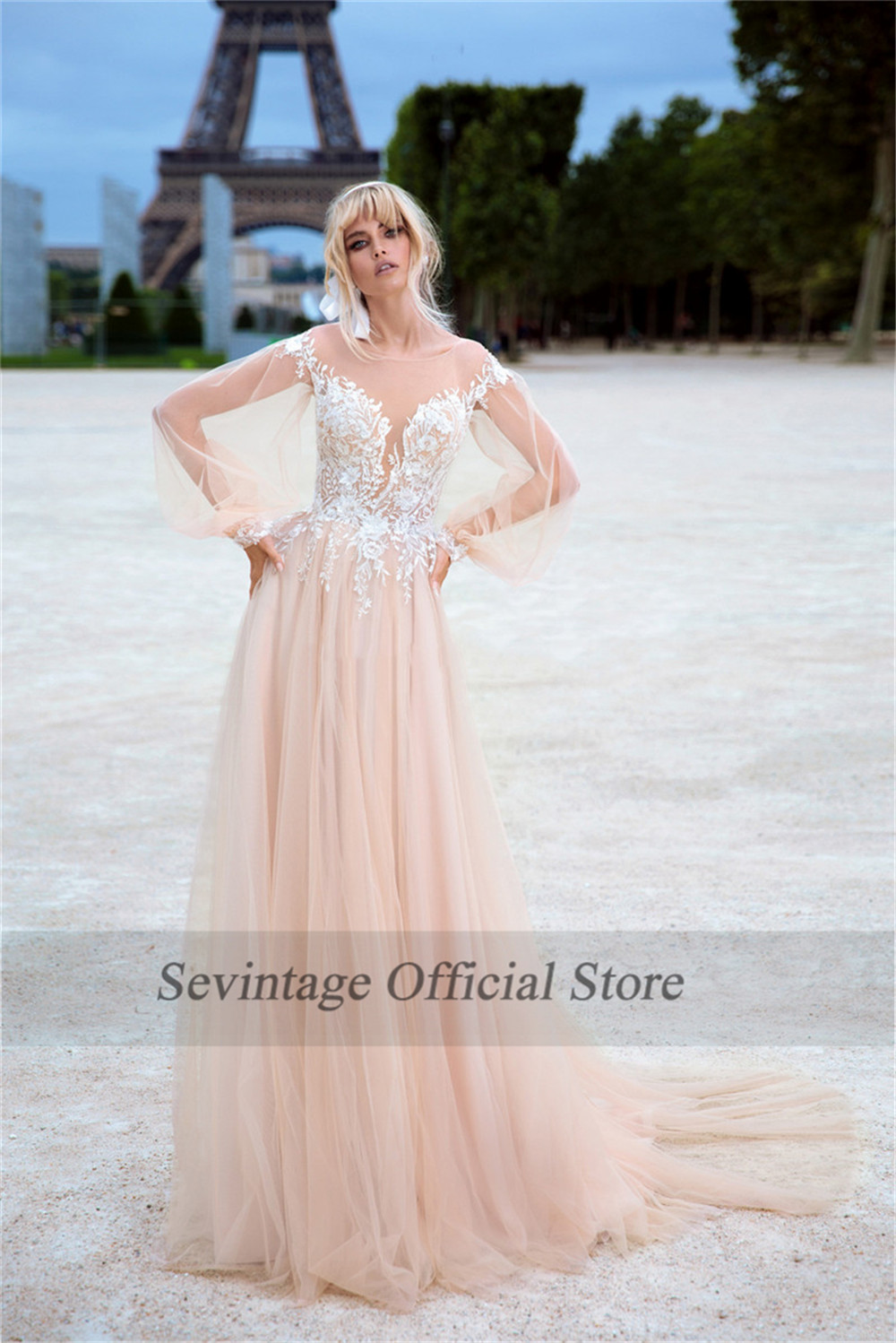 Sevintage Illusion Scoop Boho Wedding Dresses Long Sleeves Lace Appliqued Beach Bridal Gowns Buttons Back Vestido De Noiva
