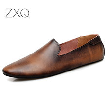 Men's Driving Shoes 2020 Men Genuine Leather Loafers Fashion Handmade Soft Breathable Moccasins Flats Slip On