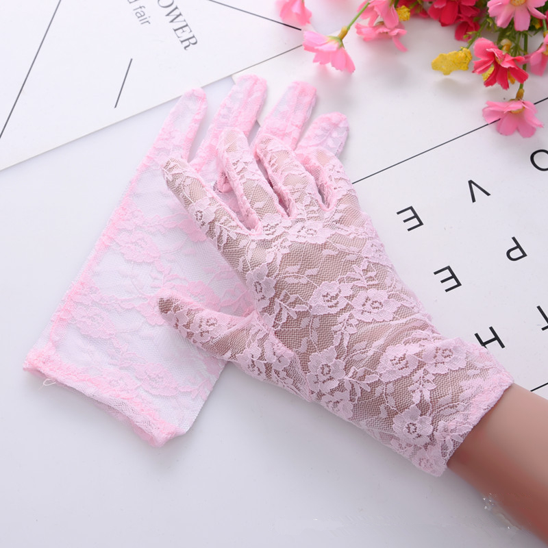 NEW Black White Pink Red Fashion Women Lady Lace Party Sexy Dressy Gloves Summer Full Finger Sunscreen Gloves for Girls Mittens