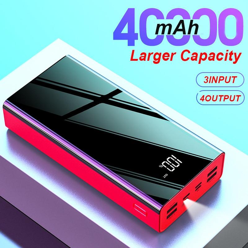 Carregador power bank 40000mah, bateria externa, typec, micro usb, carregador rápidco, display de led, portátil, carregador para telefones ou tablets