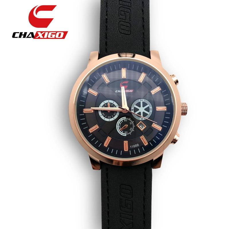 CHAXIGO Men's Watch Fashion Watch For Men Relojes Hombre 2019 Top Brand Luxury Watch Men Sport Watches Leather Relogio Masculino