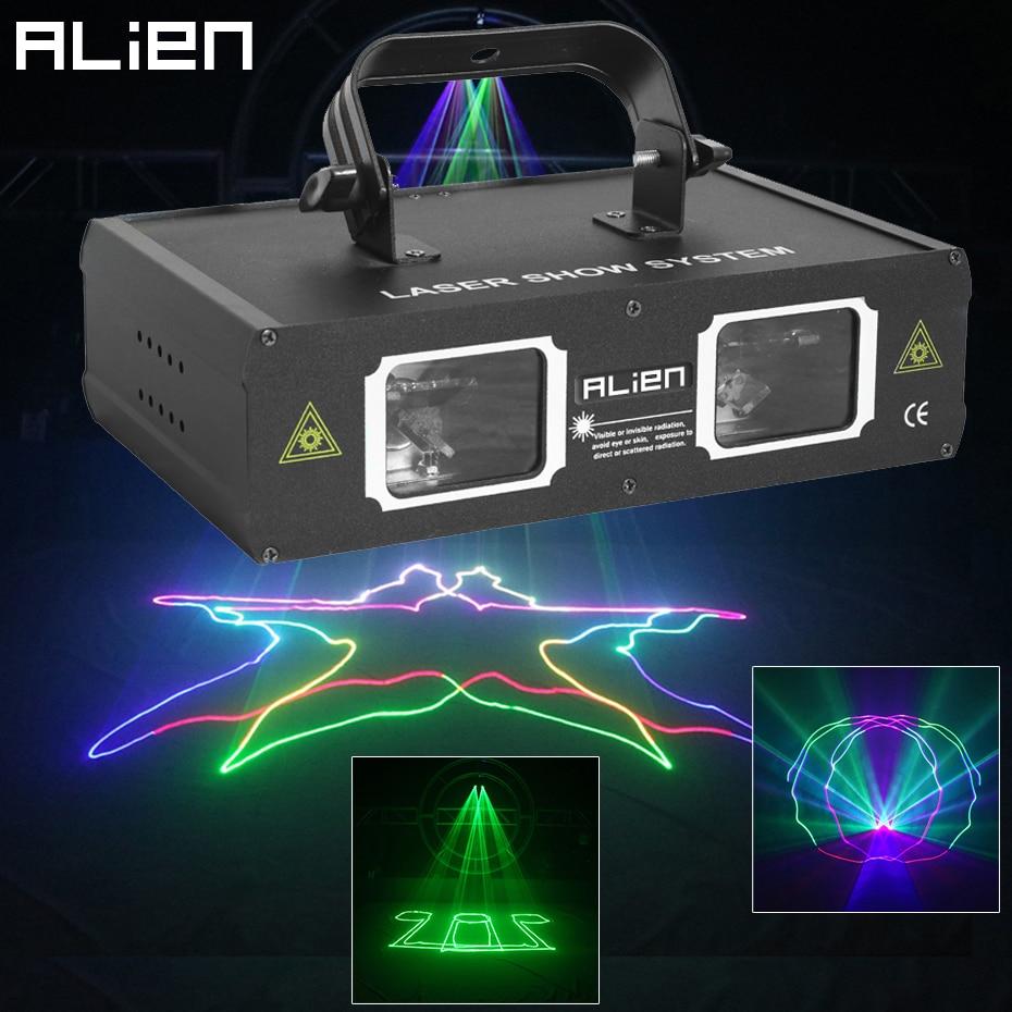 ALIEN Double Hole Disco DJ Laser Beam Line Scanner Projector RGB DMX512 Stage Lighting Effect Dance Bar Xmas Party Wedding Light