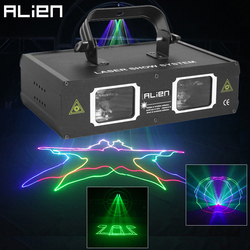 ALIEN Double Hole Disco DJ Laser Beam Line Scanner Projector RGB DMX512 Stage Lighting Effect Dance Bar Xmas Party Wedding Light