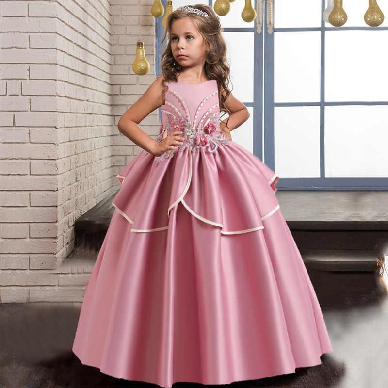 Rose Blanc Une Epaule Longue Robe De Demoiselle D Honneur Fille Bow Robe Enfants Robes Pour Filles Enfants Princesse Fete Robes De Mariage Aliexpress