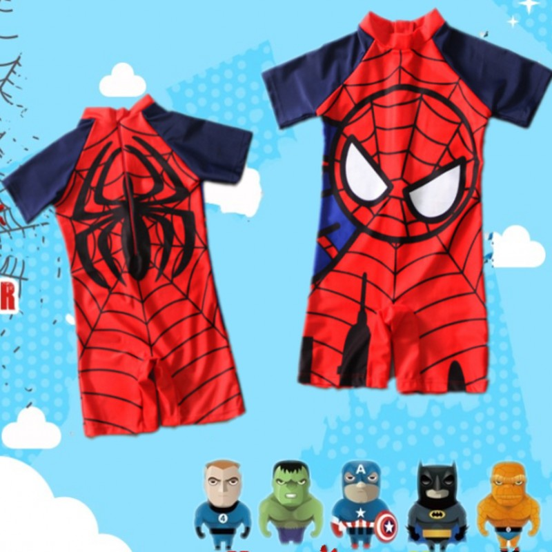 Swimwear Kids One Piece Baby Swimwear Spider Man Super Hero  Swimming Boys Beachwear Baby Sunscreen Quick Dry Bathing Suit