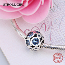 New 100% 925 Sterling Silver Essence Collection Beads Blue CZ Peace Charm Fits Pandora Charms Bracelet Jewelry Gifts