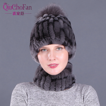 Zima 100 prawdziwe Rex królik futro kobiety kapelusz szalik ustawia wygodne ciepłe Vintage futro przypadkowa kobieta panie czapki szaliki tanie i dobre opinie QiuChongFan WOMEN Dla dorosłych Szalik Kapelusz i rękawiczki zestawy Moda QT-010 Drukuj 0 3kg