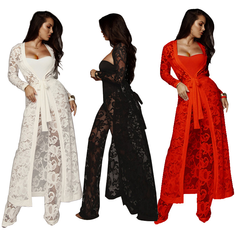 Sexy Women Lace 3 Piece Set Strapless Tank Top Sheer Wide Leg Pants Cardigan Cover-Up Solid Suit Outfits White/Red/Black
