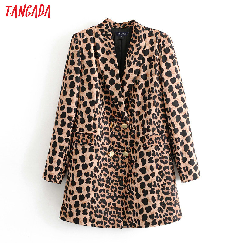 Tangada Women Vintage Leopard Print Long Blazer Female Long Sleeve Elegant Jacket Ladies Work Wear Blazer Formal Suits 3H295