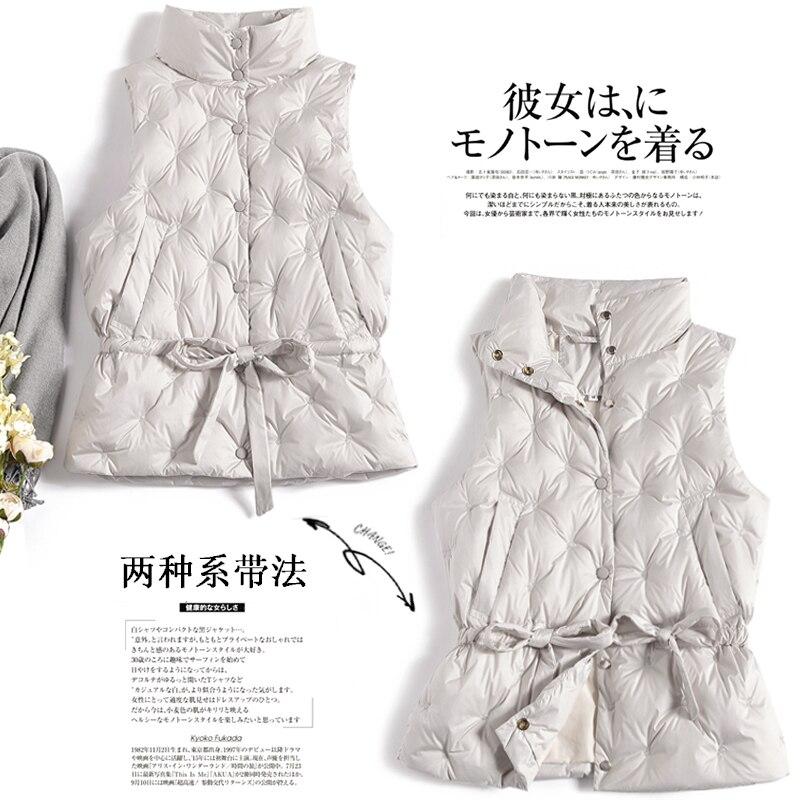 Women's Vest Autumn Winter Sleeveless Down Jacket Women Puffer Vest White Duck Down Coat Korean Vests 2020 KJ3830