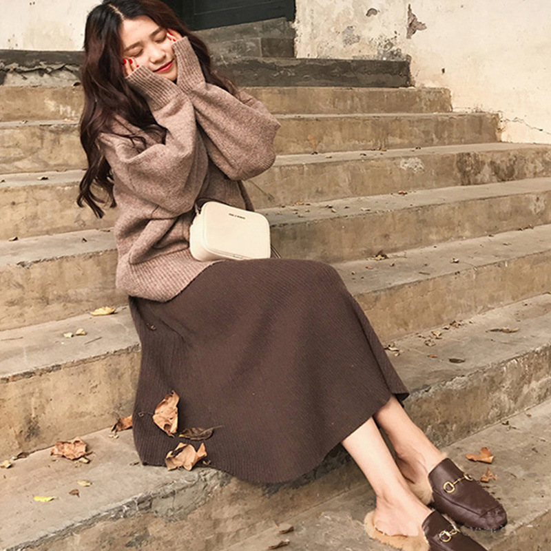 Autumn And Winter New Style Very Fairy Of Network Hong Yang Gas Playful Dress Outfit Loose-Fit High Collar Sweater Skirt Two-Pie