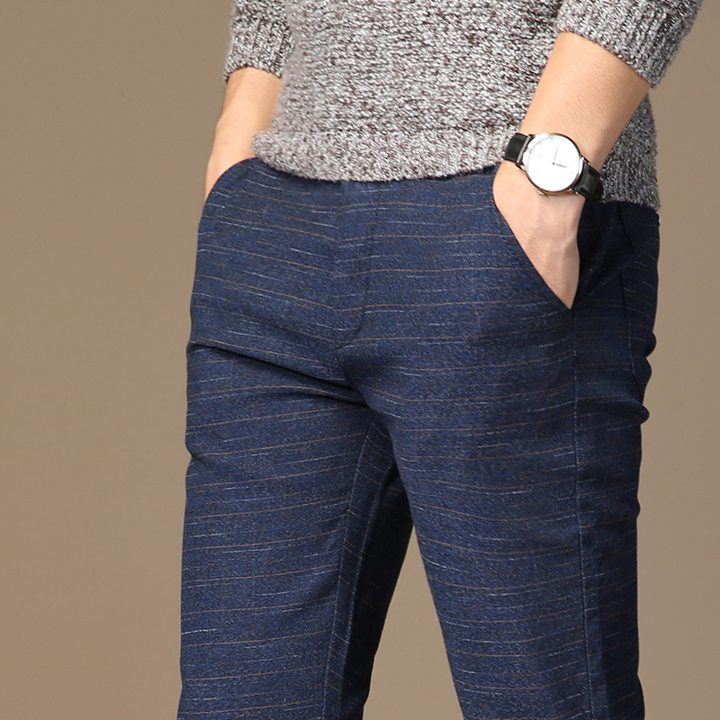 2020  Spring Men Casual Jeans Pants Mens Elastic Waist Casual Cotton Slim Blue Pant Male Stretch Straight Trousers Plus Size 40