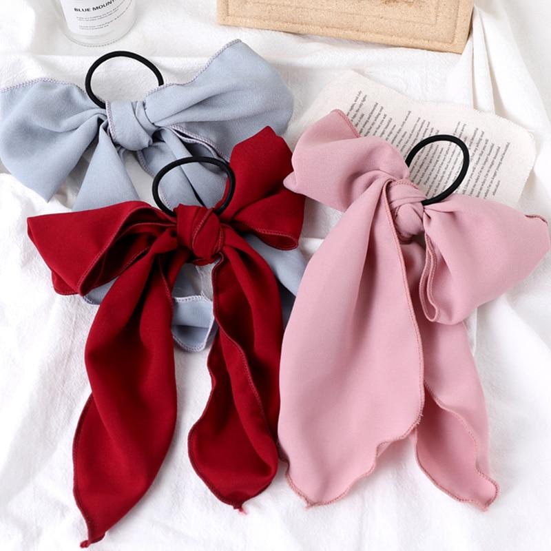 Ins New Women Elegant Chiffon Big Bow Elastic Hair Bands Sweet Ponytail Holder Headband Hair Ornament Fashion Hair Accessories